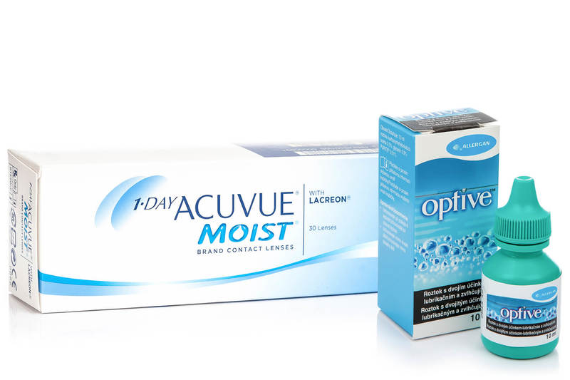 1-DAY Acuvue Moist (30 lentile) + Optive 10 ml de la Johnson  Johnson
