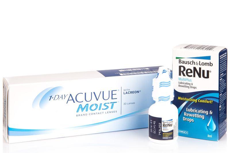 1-Day Acuvue Moist (30 čoček) + ReNu MultiPlus Drops 8 ml Acuvue Jednodenní čočky balíčky sférické pro sport