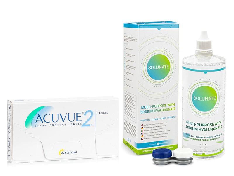 Acuvue 2 (6 čoček) + Solunate Multi-Purpose 400 ml s pouzdrem Acuvue 2 týdenní čočky balíčky sférické