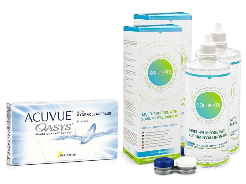 Acuvue Oasys (6 čoček) + 2 x Solunate Multi-Purpose 400 ml s pouzdrem Acuvue 2 týdenní čočky silikon