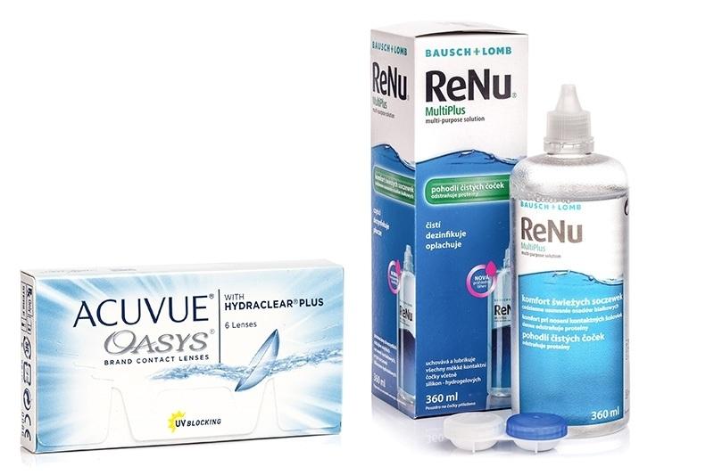 Acuvue Oasys (6 čoček) + ReNu MultiPlus 360 ml s pouzdrem Acuvue 2 týdenní čočky silikon-hydrogelové balíčky sférické