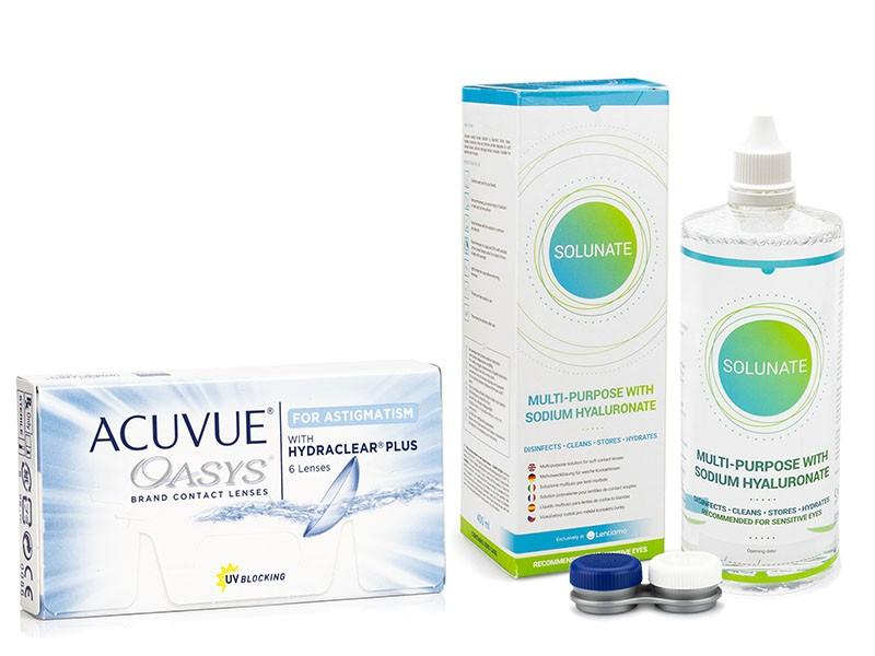 Image of   Acuvue Oasys for Astigmatism (6 linser) + Solunate Multi-Purpose 400 ml med etui