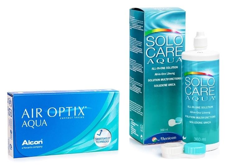 Air Optix Aqua (6 čoček) + SoloCare Aqua 360 ml s pouzdrem Air Optix Měsíční čočky silikon-hydrogelové balíčky sférické