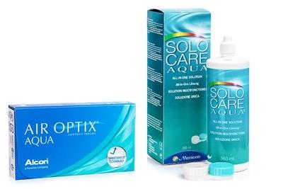 Air Optix Aqua (6 šošoviek) + SoloCare Aqua 360 ml s puzdrom