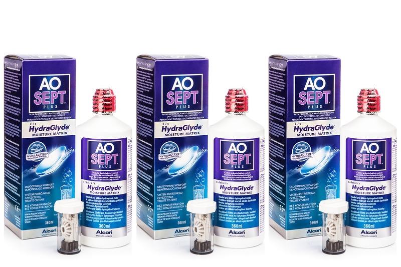 Aosept Plus s Hydraglyde 3 x 360 ml s pouzdry Aosept