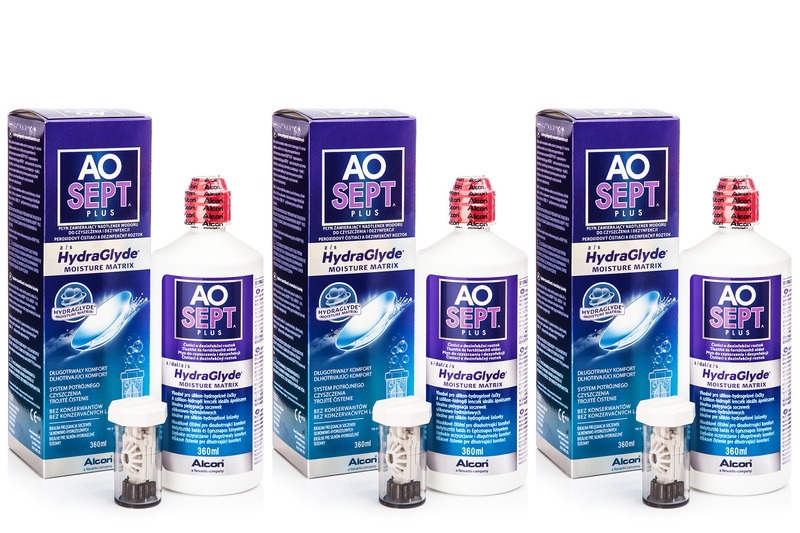 AOSEPT PLUS with Hydraglyde 3 x 360 ml cu suporturi de la Alcon