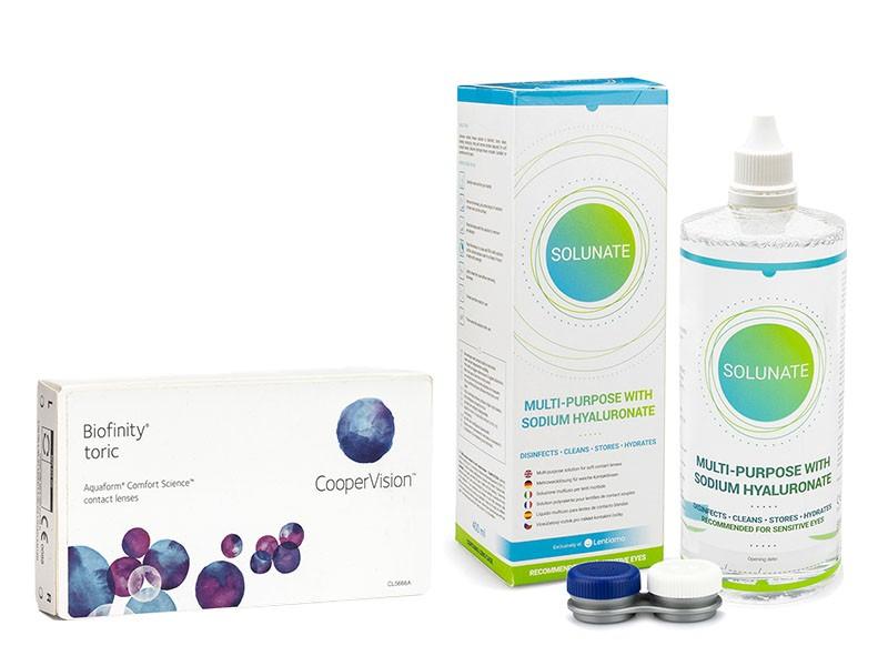 Biofinity Toric (6 čoček) + Solunate Multi-Purpose 400 ml s pouzdrem Biofinity Kontinuální čočky tor
