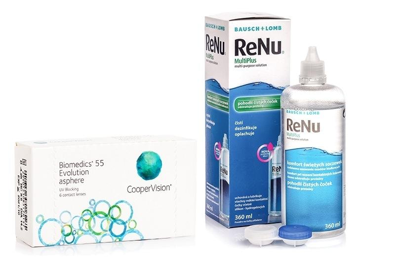 Biomedics 55 Evolution CooperVision (6 linser) + ReNu MultiPlus 360 ml med etui