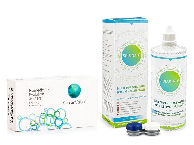 Biomedics 55 Evolution (6 čoček) + Solunate Multi-Purpose 400 ml s pouzdrem Biomedics Měsíční čočky