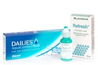 DAILIES AquaComfort Plus (30 čoček) + Refresh 15 ml