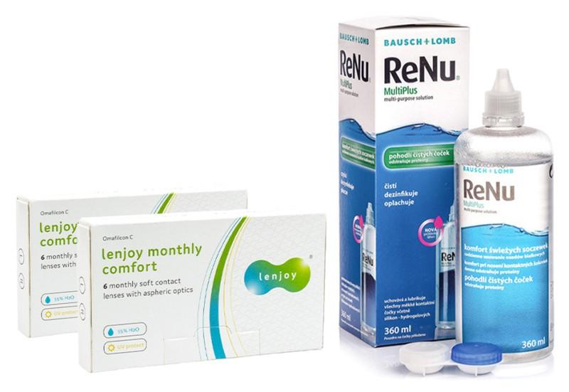 Lenjoy Monthly Comfort (12 čoček) + ReNu MultiPlus 360 ml s pouzdrem Lenjoy kontaktní čočky Měsíční