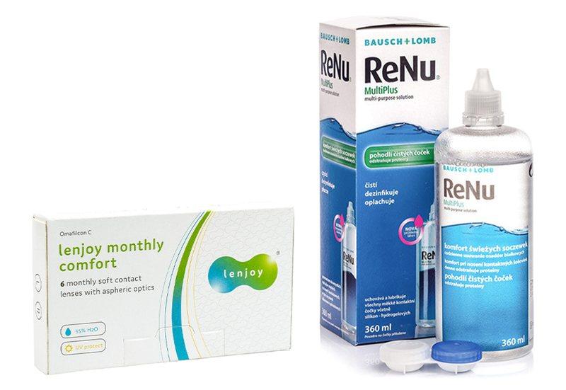 Lenjoy Monthly Comfort (6 čoček) + ReNu MultiPlus 360 ml s pouzdrem Lenjoy kontaktní čočky Měsíční čočky balíčky