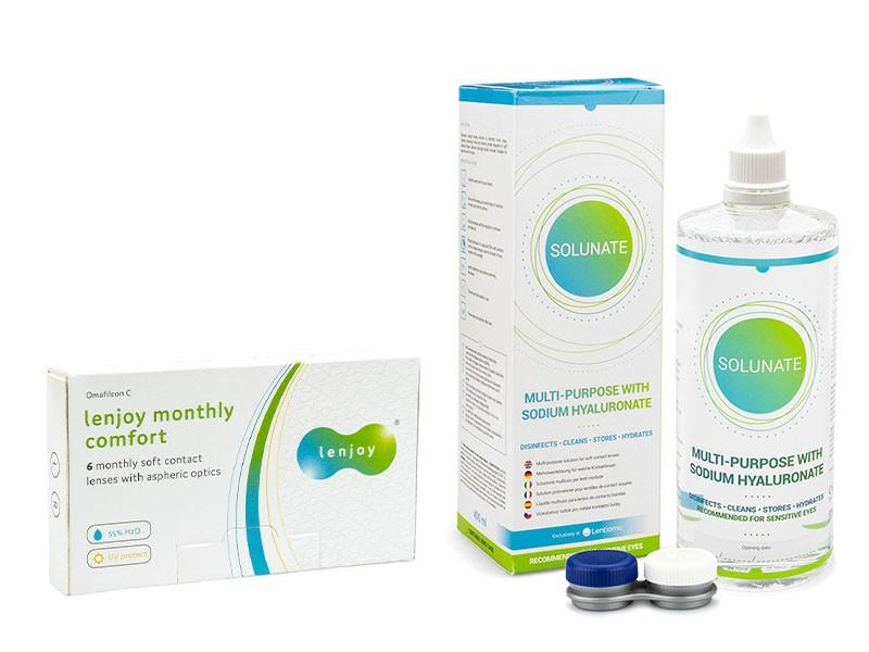 Lenjoy Monthly Comfort (6 čoček) + Solunate Multi-Purpose 400 ml s pouzdrem Lenjoy kontaktní čočky M
