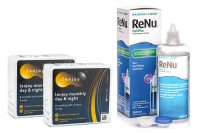 Lenjoy Monthly Day & Night (12 lentile) + ReNu MultiPlus ® Multi-Purpose 360 ml cu suport lentile