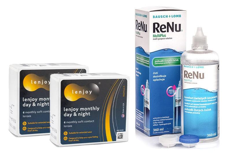 Lenjoy Monthly Day & Night (12 čoček) + ReNu MultiPlus 360 ml s pouzdrem Lenjoy kontaktní čočky Kontinuální čočky silikon-hydrogelové sférické