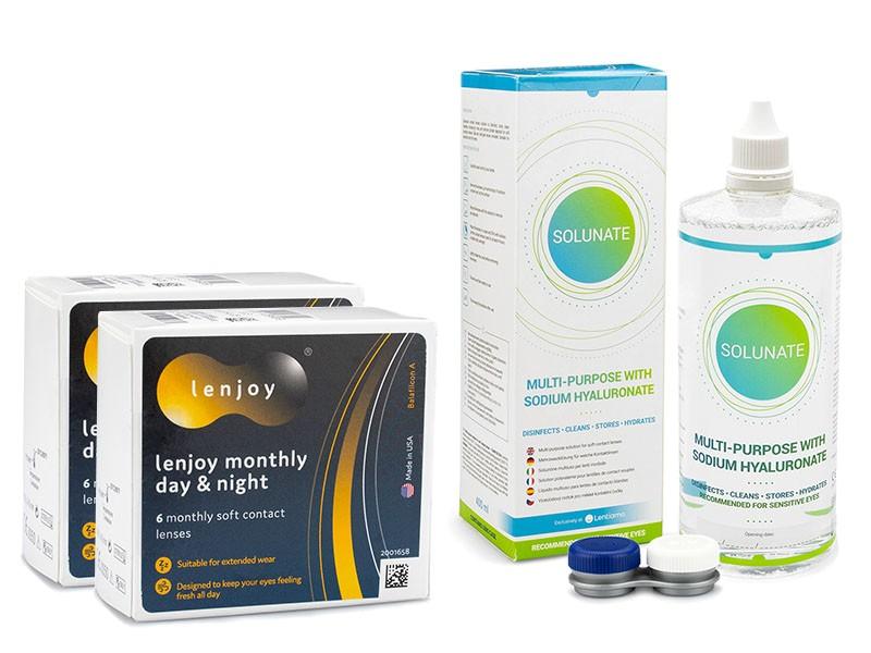 Lenjoy Monthly Day & Night (12 čoček) + Solunate Multi-Purpose 400 ml s pouzdrem Lenjoy kontaktn