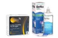 Lenjoy Monthly Day & Night (6 lentile) + ReNu MultiPlus ® Multi-Purpose 360 ml cu suport lentile
