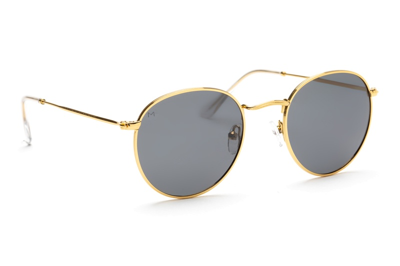 Meller Yster gold carbon 2, round metal sunglasses