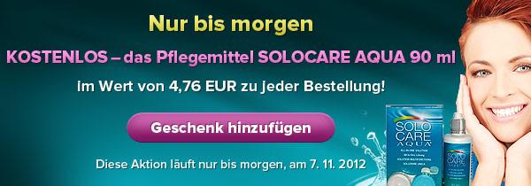 Nur bis morgen – KOSTENLOS – das Pflegemittel SOLOCARE AQUA 90 ml im Wert von 4,76 €!