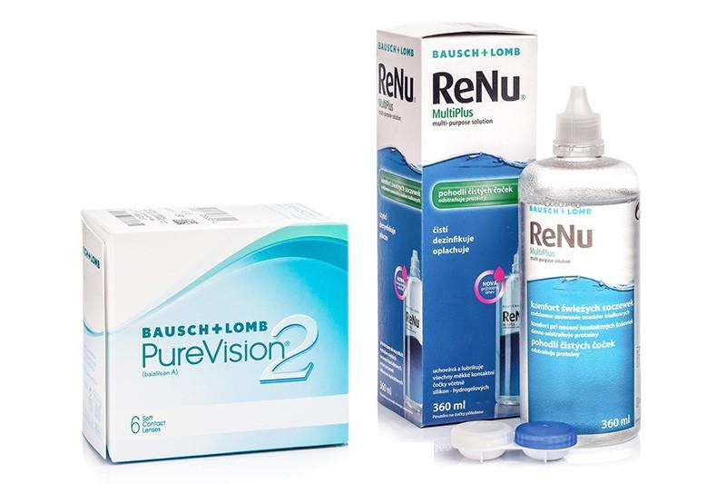 PureVision 2 (6 čoček) + ReNu MultiPlus 360 ml s pouzdrem PureVision Kontinuální čočky silikon-hydrogelové balíčky sférické