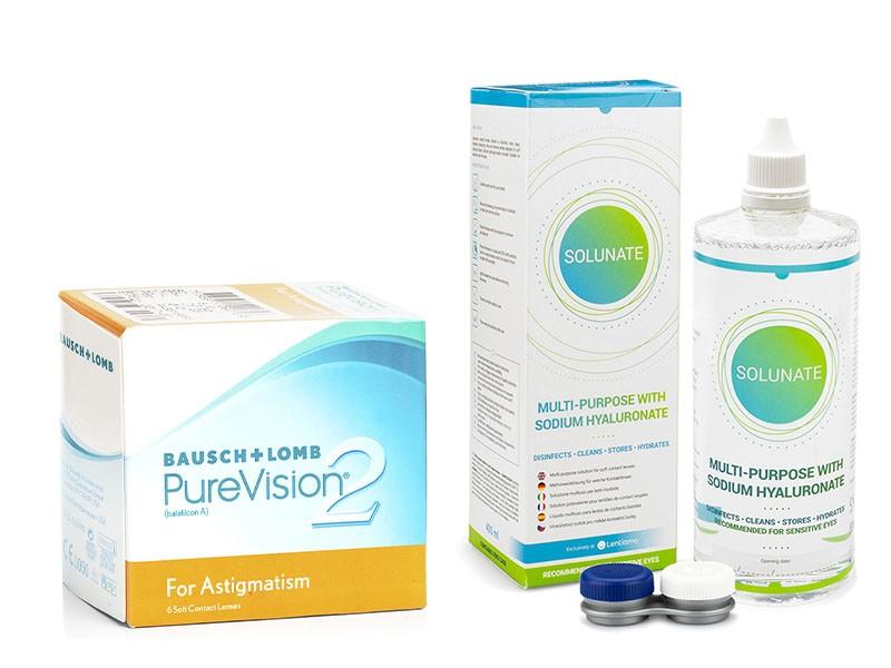 PureVision 2 for Astigmatism (6 čoček) + Solunate Multi-Purpose 400 ml s pouzdrem PureVision Kontinuální čočky torické silikon-hydrogelové balíčky