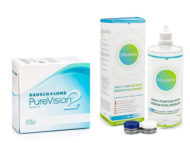 PureVision 2 (6 čoček) + Solunate Multi-Purpose 400 ml s pouzdrem PureVision Kontinuální čočky silikon-hydrogelové balíčky sférické