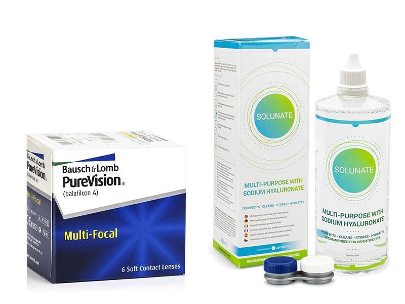 PureVision Multi-Focal (6 čoček) + Solunate Multi-Purpose 400 ml s pouzdrem PureVision Kontinuální č