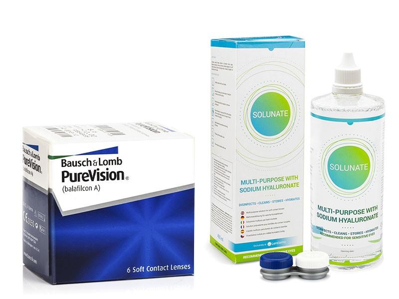 PureVision (6 čoček) + Solunate Multi-Purpose 400 ml s pouzdrem PureVision Kontinuální čočky silikon-hydrogelové balíčky sférické