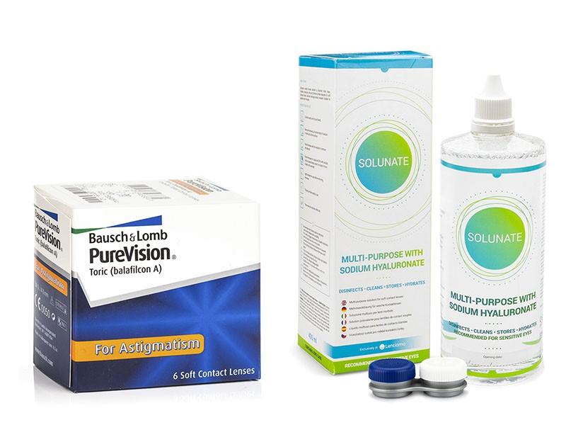 PureVision Toric (6 čoček) + Solunate Multi-Purpose 400 ml s pouzdrem PureVision Kontinuální čočky torické silikon-hydrogelové balíčky