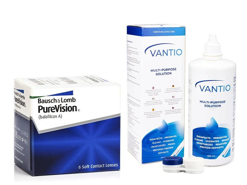 PureVision (6 čoček) + Vantio Multi-Purpose 360 ml s pouzdrem PureVision Kontinuální čočky silikon-hydrogelové balíčky sférické