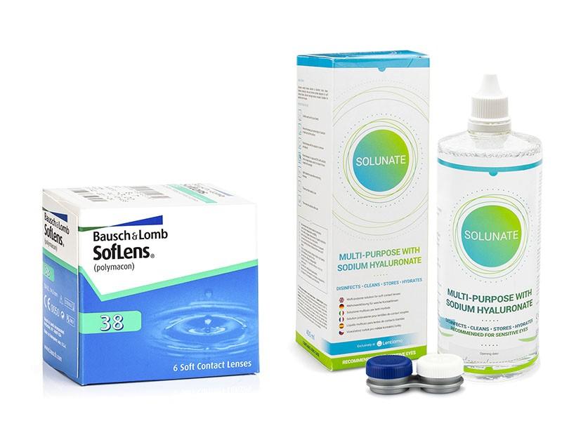 SofLens 38 (6 čoček) + Solunate Multi-Purpose 400 ml s pouzdrem Soflens Měsíční čočky balíčky sférické