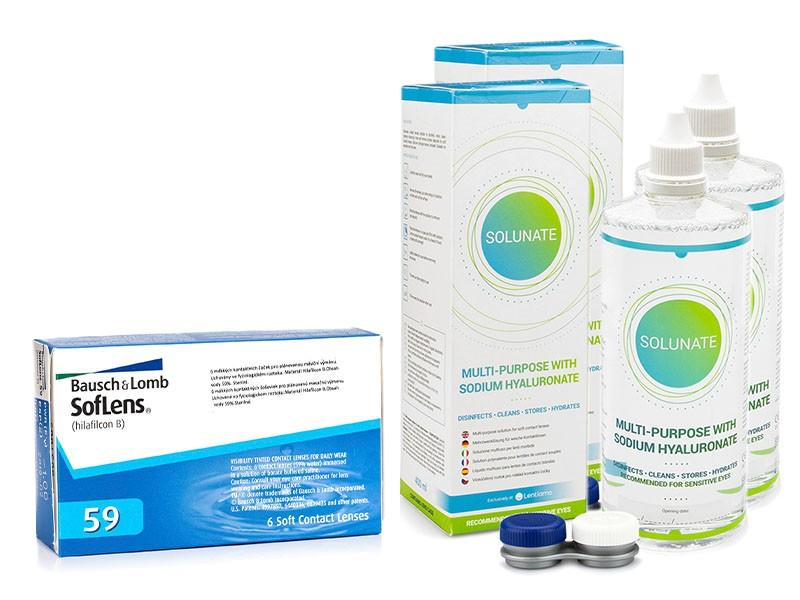 SofLens 59 (6 čoček) + 2 x Solunate Multi-Purpose 400 ml s pouzdrem Soflens Měsíční čočky balíčky sférické
