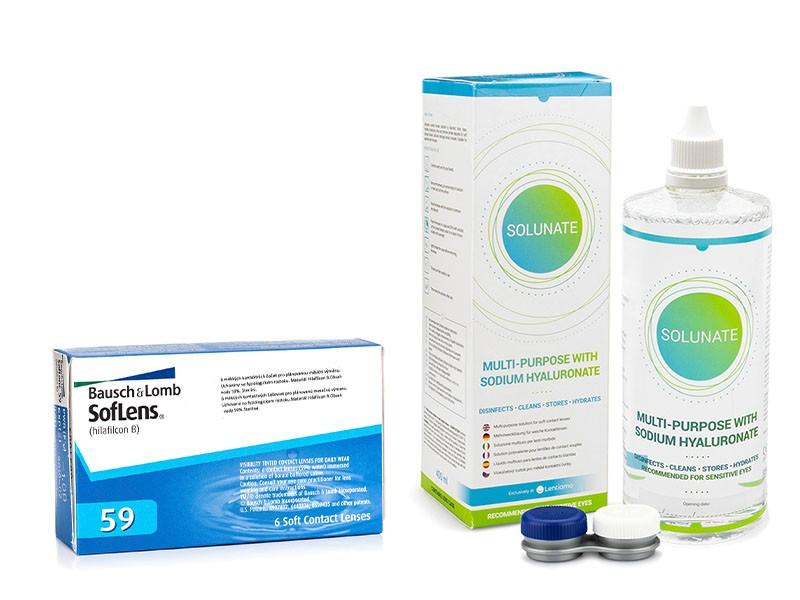 SofLens 59 (6 čoček) + Solunate Multi-Purpose 400 ml s pouzdrem Soflens Měsíční čočky balíčky sférické