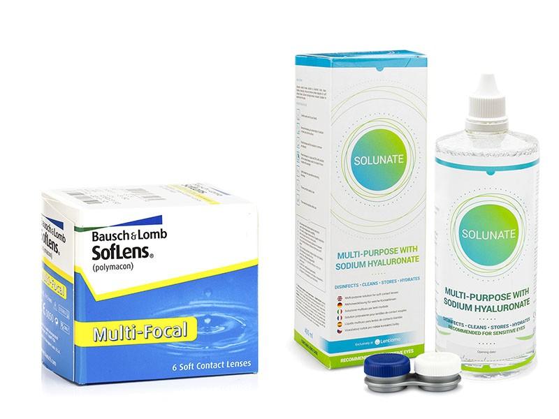 SofLens Multi-Focal (6 čoček) + Solunate Multi-Purpose 400 ml s pouzdrem Soflens Měsíční čočky multifokální balíčky