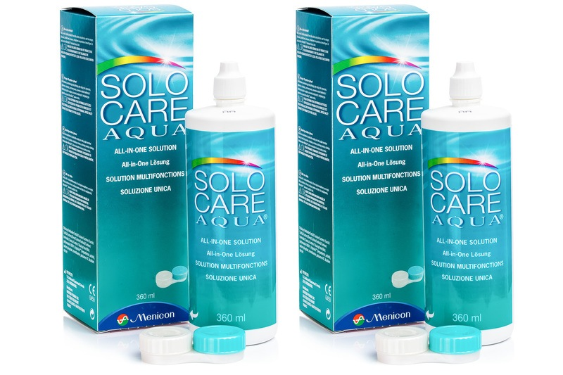 SOLOCARE AQUA 2 x 360 ml cu suporturi de la Menicon