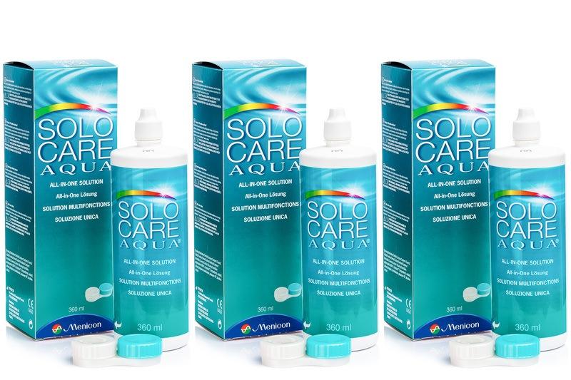 SOLOCARE AQUA  3 x 360 ml cu suporturi de la Menicon