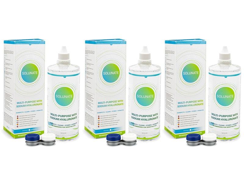 Solunate Multi-Purpose 3 x 400 ml s pouzdry Solunate roztoky pro kontaktní čočky