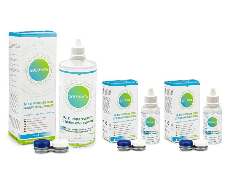 Solunate Multi-Purpose 400 ml + 2 x 50 ml s pouzdry Solunate roztoky pro kontaktní čočky